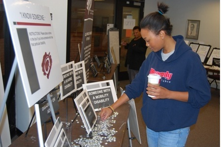 A Bucks student checking out one of the exhibits at the event.