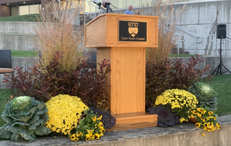 The sculpture unveiled at the Upper Bucks Campus, photo courtesy of Alyssa Moore